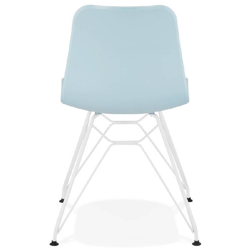 Design and modern Chair in polypropylene feet (blue) white metal - image 39285