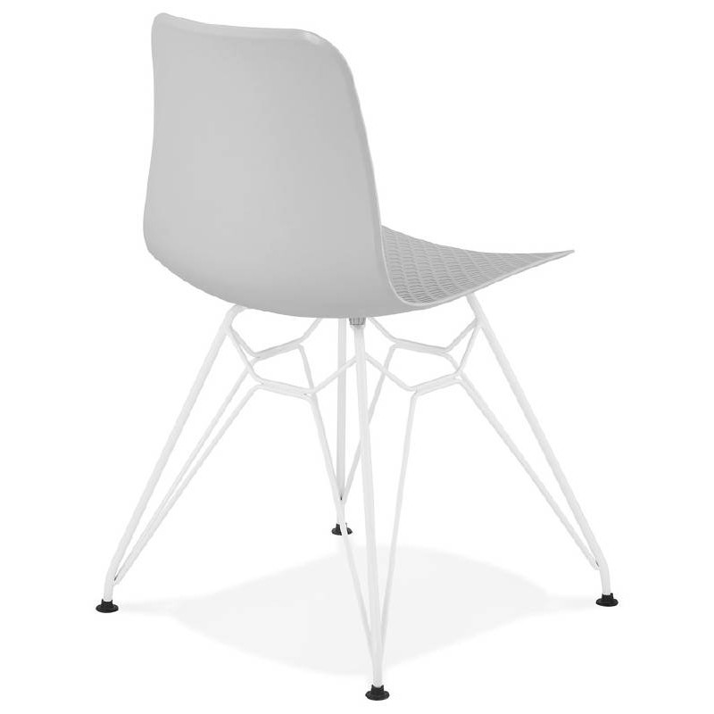 Design and modern Chair in polypropylene feet white metal (light gray) - image 39296