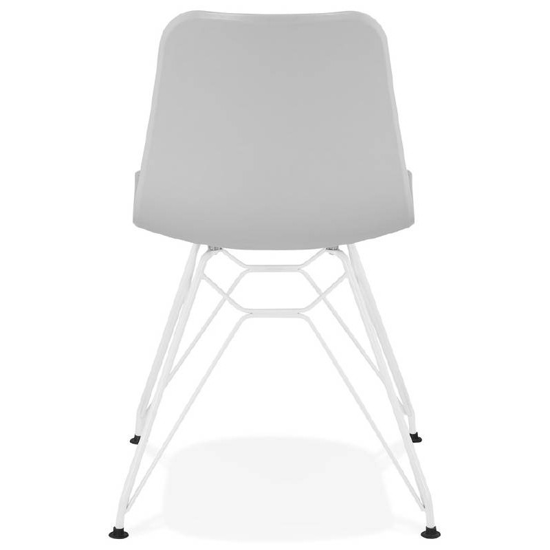 Design and modern Chair in polypropylene feet white metal (light gray) - image 39297
