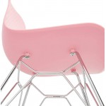 Diseño e industrial silla en polipropileno patas de metal cromado (rosa)