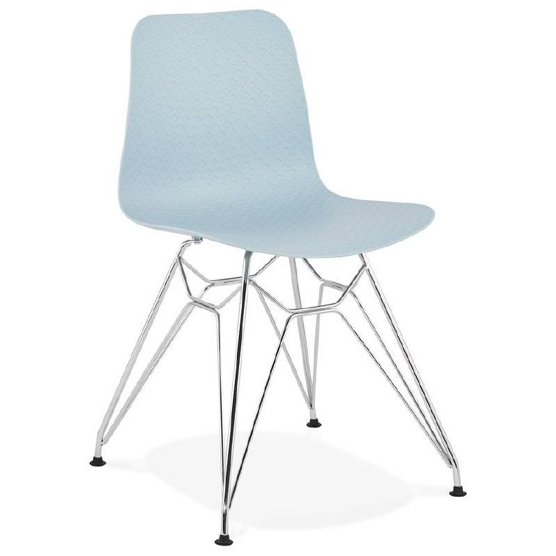 Design und industrielle Stuhl aus Polypropylen (himmelblau) verchromte Metallbeine - image 39317
