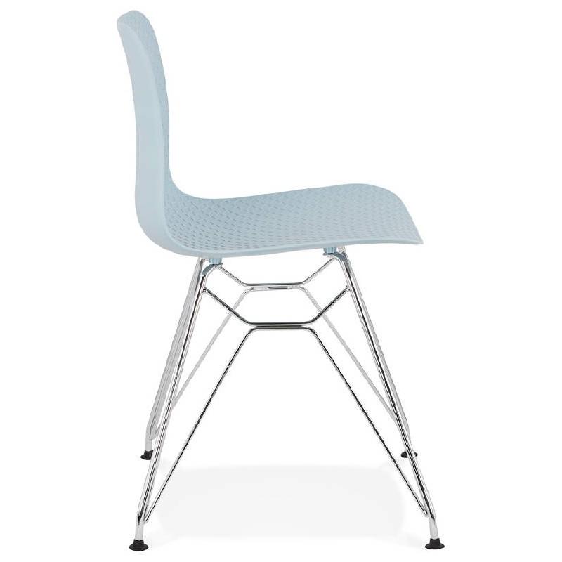 Design und industrielle Stuhl aus Polypropylen (himmelblau) verchromte Metallbeine - image 39319