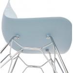 Design und industrielle Stuhl aus Polypropylen (himmelblau) verchromte Metallbeine