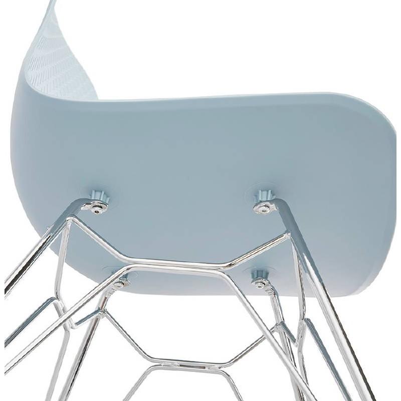 Design und industrielle Stuhl aus Polypropylen (himmelblau) verchromte Metallbeine - image 39325