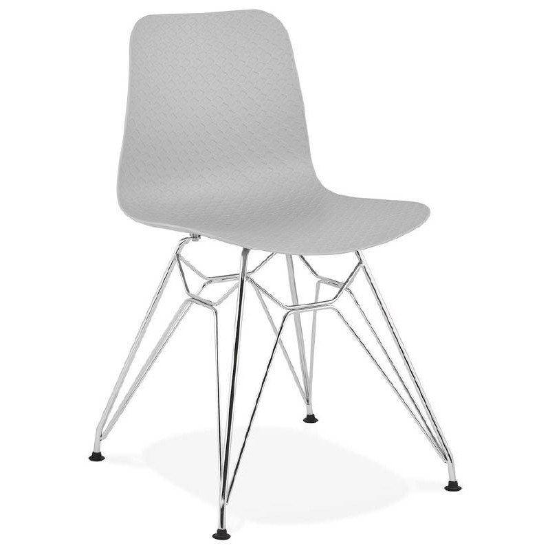 Design and industrial chair from polypropylene feet chrome metal (light gray)