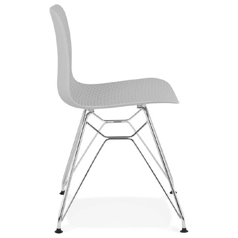 Design and industrial chair from polypropylene feet chrome metal (light gray) - image 39332