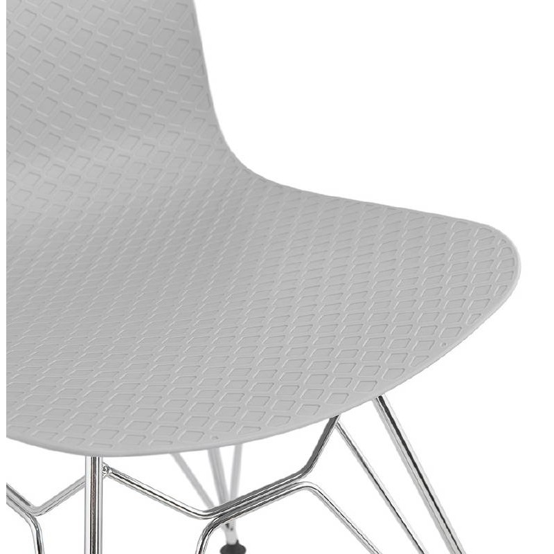 Design and industrial chair from polypropylene feet chrome metal (light gray) - image 39336