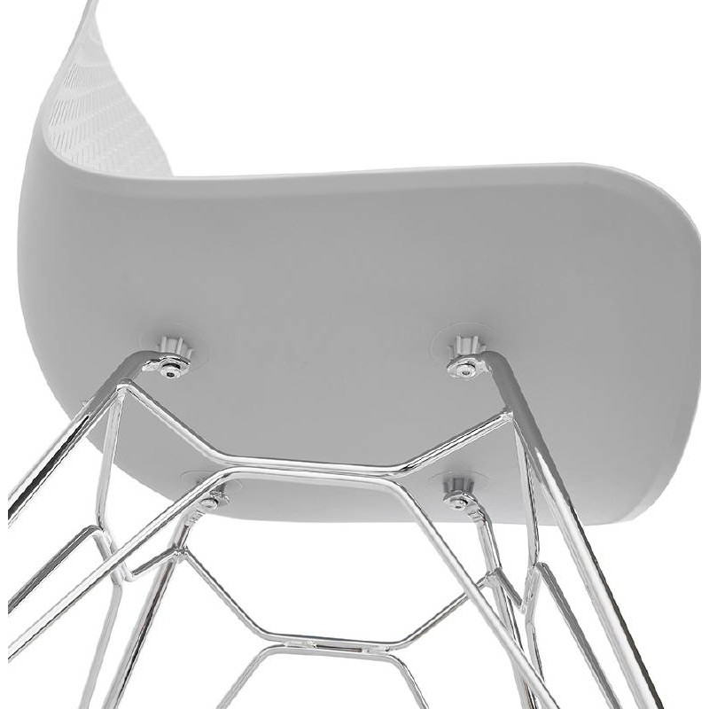 Design and industrial chair from polypropylene feet chrome metal (light gray) - image 39338