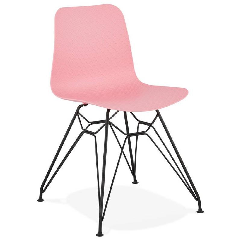 Silla de diseño y industrial metal de negro de pies de VENUS (rosa)