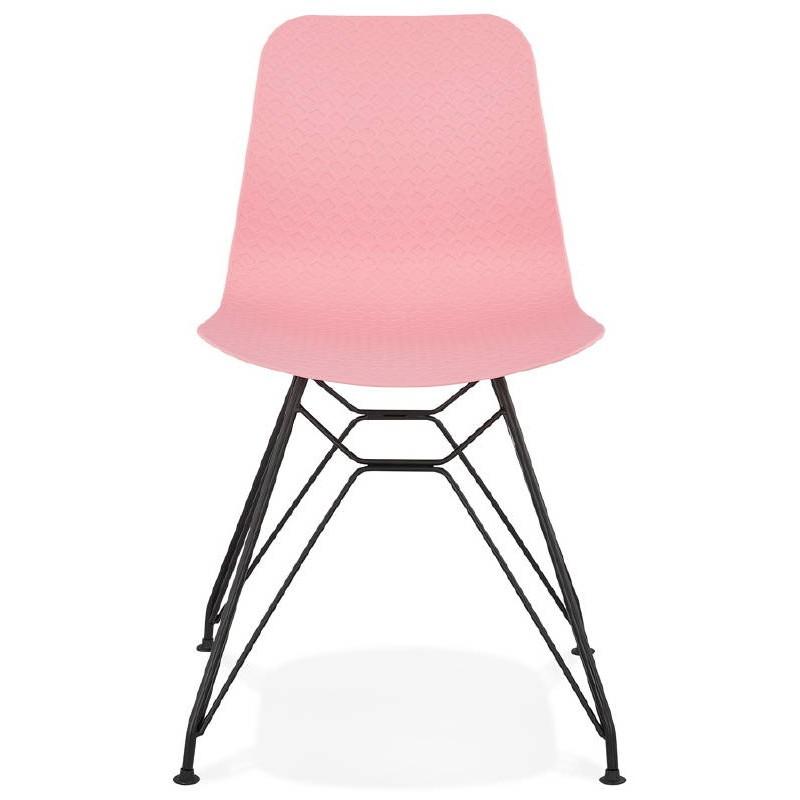 Chaise design et industrielle VENUS pieds métal noir (rose) - image 39344