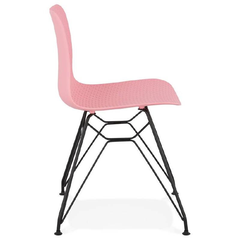 Chaise design et industrielle VENUS pieds métal noir (rose) - image 39345