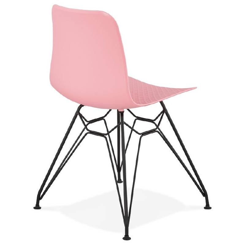 Chaise design et industrielle VENUS pieds métal noir (rose) - image 39346