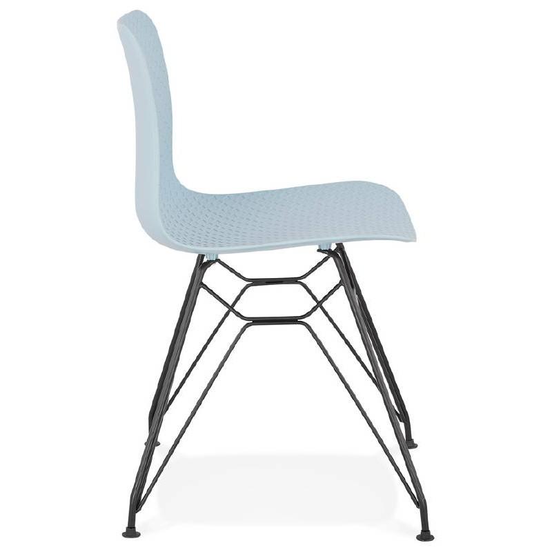 Design and industrial chair VENUS feet (sky blue) black metal - image 39358