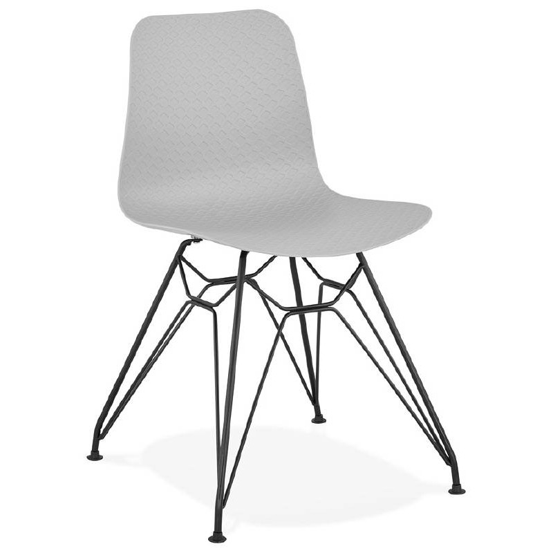 Chaise design et industrielle VENUS pieds métal noir (gris clair) - image 39369