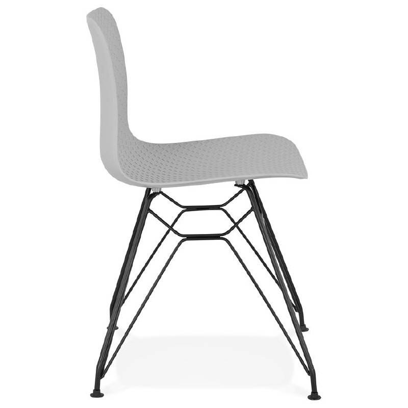 Designstuhl und industrielle VENUS Füße schwarz Metall (hellgrau) - image 39371