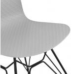 Silla de diseño y industrial metal de negro de pies de VENUS (gris claro)