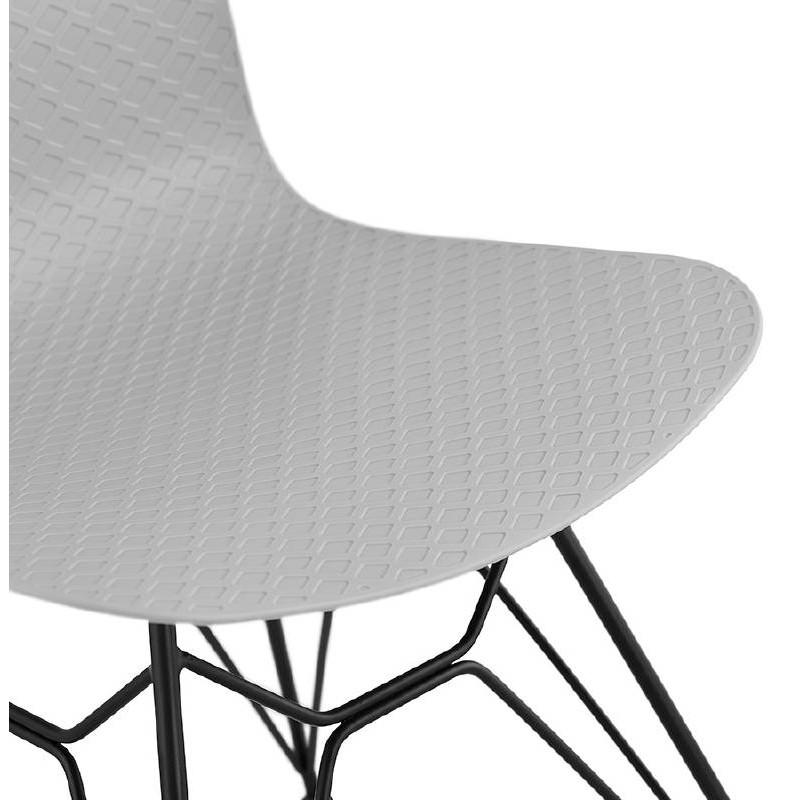 Chaise design et industrielle VENUS pieds métal noir (gris clair) - image 39375