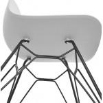 Designstuhl und industrielle VENUS Füße schwarz Metall (hellgrau)
