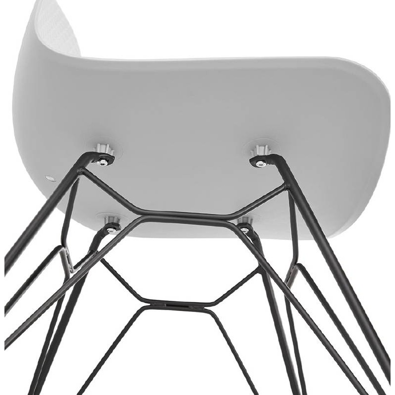 Chaise design et industrielle VENUS pieds métal noir (gris clair) - image 39377
