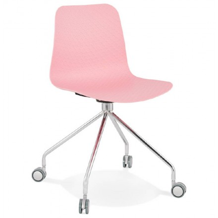 Office Chair on wheels JANICE polypropylene feet chrome metal (Pink)