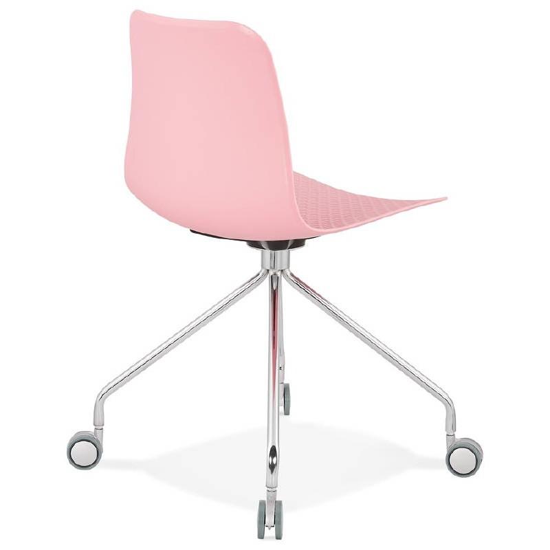 Chaise de bureau sur roulettes JANICE en polypropylène pieds métal chromé (rose) - image 39385