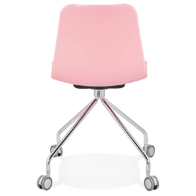 Chaise de bureau sur roulettes JANICE en polypropylène pieds métal chromé (rose) - image 39386