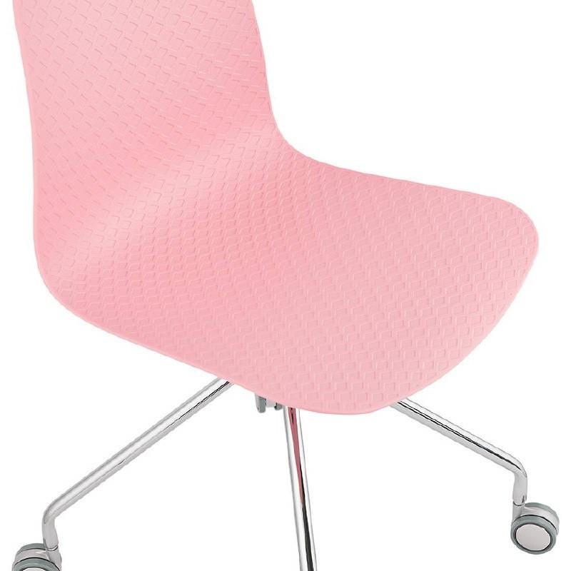 Chaise de bureau sur roulettes JANICE en polypropylène pieds métal chromé (rose) - image 39387