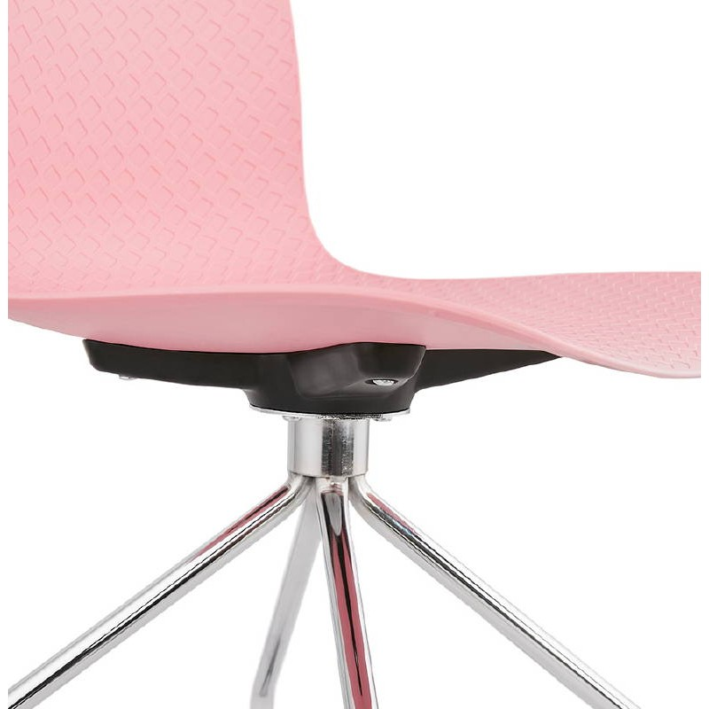 Chaise de bureau sur roulettes JANICE en polypropylène pieds métal chromé (rose) - image 39389