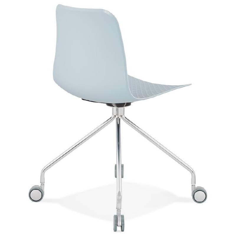 Office Chair on wheels JANICE polypropylene feet chrome metal (blue sky) - image 39397