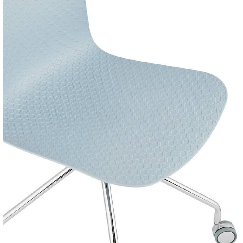 Office Chair on wheels JANICE polypropylene feet chrome metal (blue sky) - image 39399