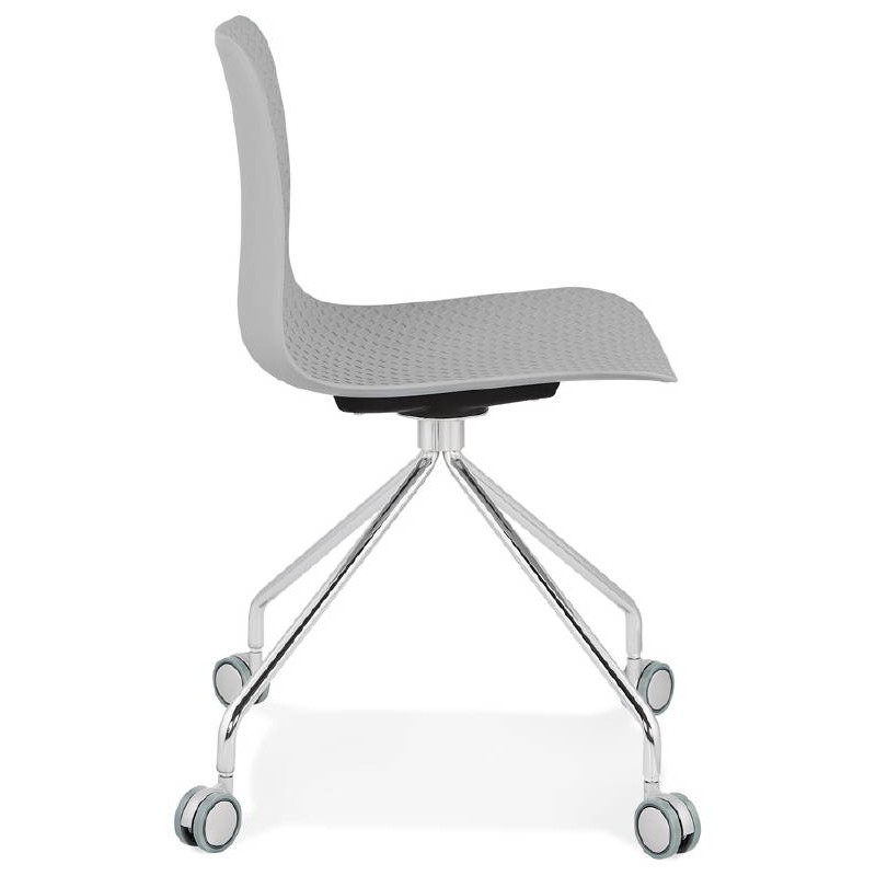 Office Chair on wheels JANICE polypropylene feet chrome metal (light gray) - image 39409