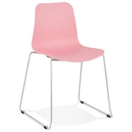 Chaise moderne empilable ALIX pieds métal chromé (rose)