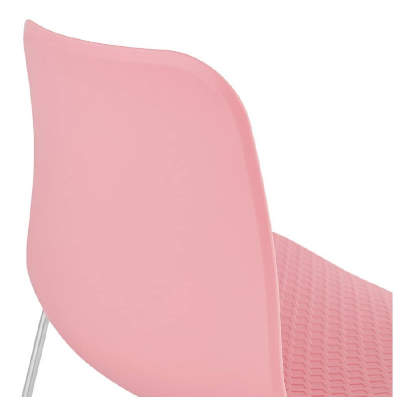 Modern Chair ALIX foot chromed metal (Pink) - image 39428