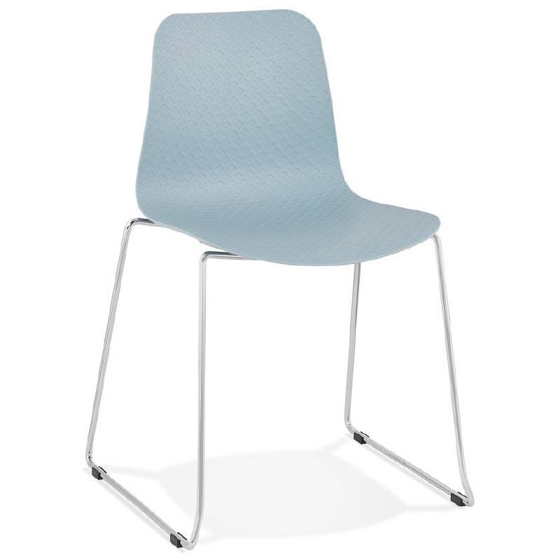 Chaise moderne empilable ALIX pieds métal chromé (bleu ciel) - image 39431