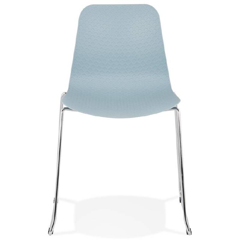 Chaise moderne empilable ALIX pieds métal chromé (bleu ciel) - image 39432