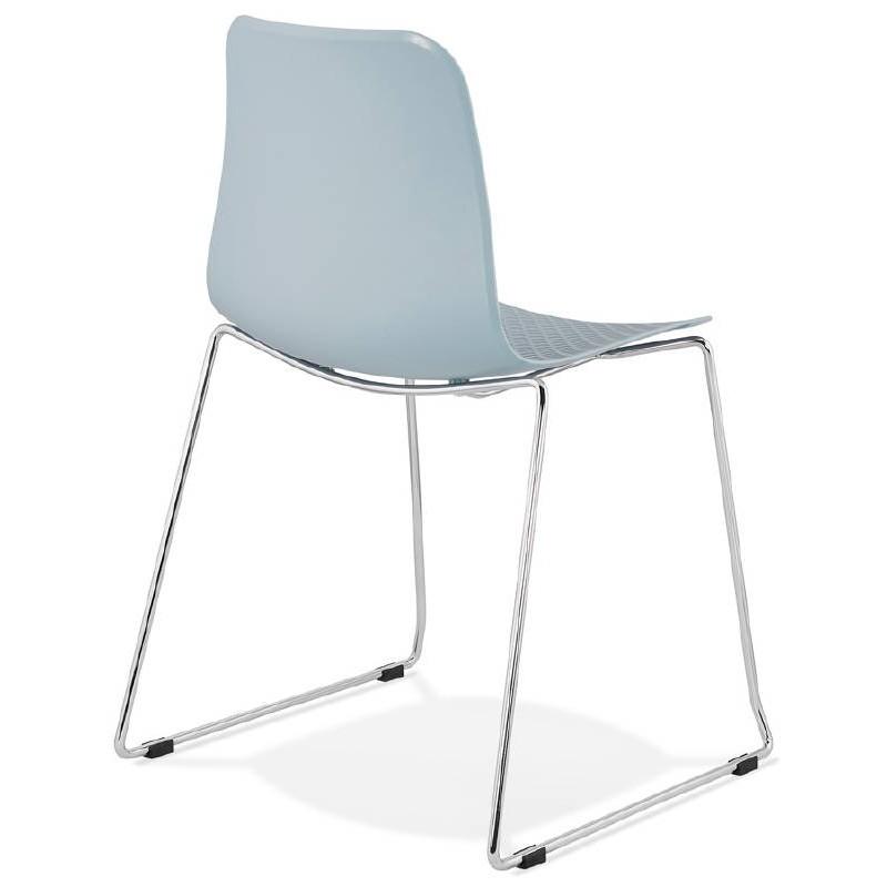 Chaise moderne empilable ALIX pieds métal chromé (bleu ciel) - image 39434