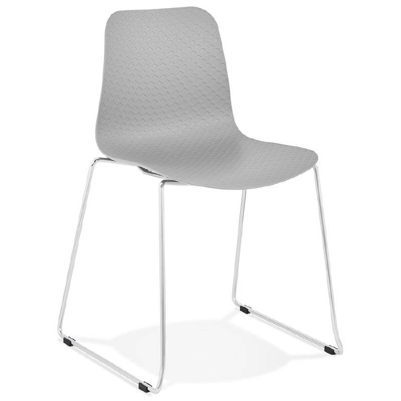 Modern Chair ALIX foot chromed metal (light gray) - image 39443