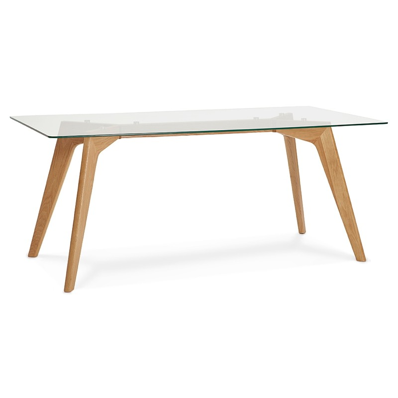 Table à manger design scandinave APOLINE en verre (90x180x75cm) (transparent)