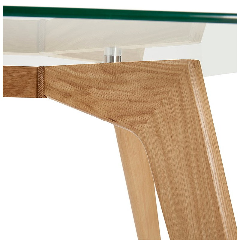 Table à manger design scandinave APOLINE en verre (90x180x75cm) (transparent) - image 39573