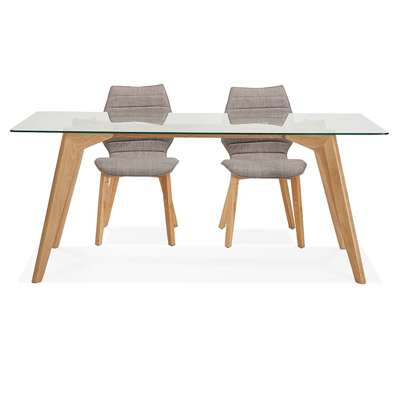 Table à manger design scandinave APOLINE en verre (90x180x75cm) (transparent) - image 39579