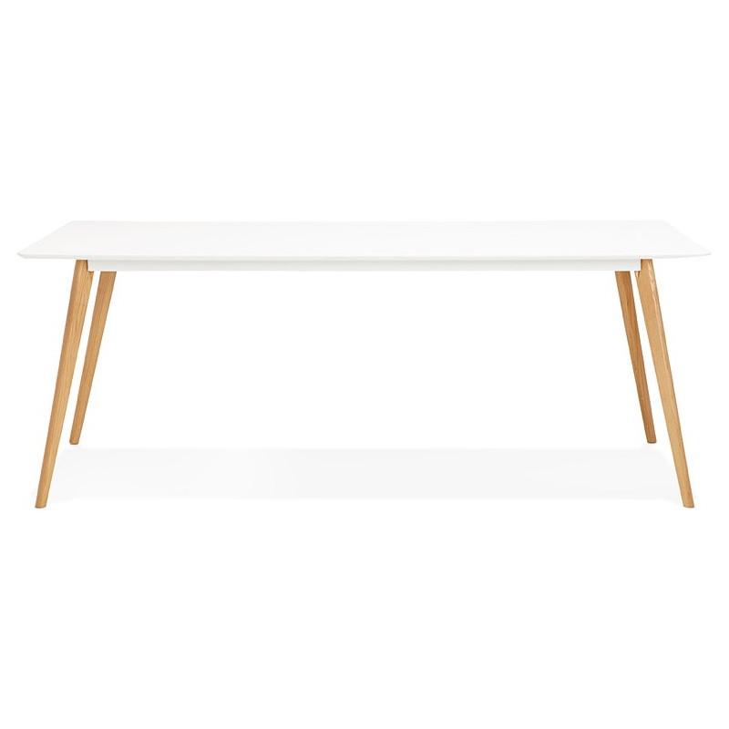 Tavolo da pranzo design scandinavo CLEMENTINE in legno (200 x 90 x 75 cm) (bianco) - image 39585