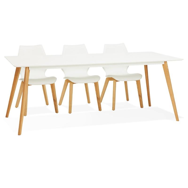 Table à manger design scandinave CLEMENTINE en bois (200x90x75 cm) (blanc) - image 39594