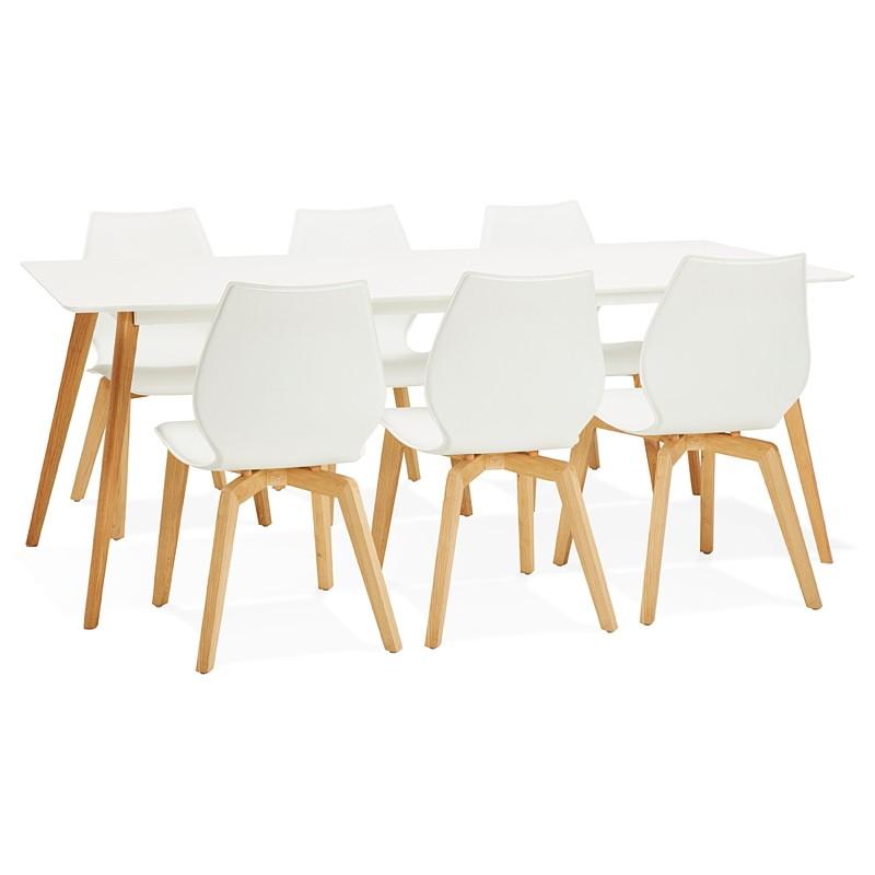 Esszimmer Tisch Design Skandinavischen CLEMENTINE Aus Holz (200 X 90 X 75  Cm) (weiß)