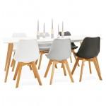 Tavolo da pranzo design scandinavo CLEMENTINE in legno (200 x 90 x 75 cm) (bianco)