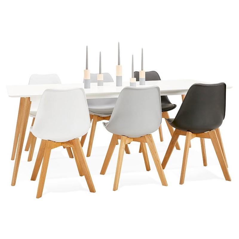 Table à manger design scandinave CLEMENTINE en bois (200x90x75 cm) (blanc) - image 39598