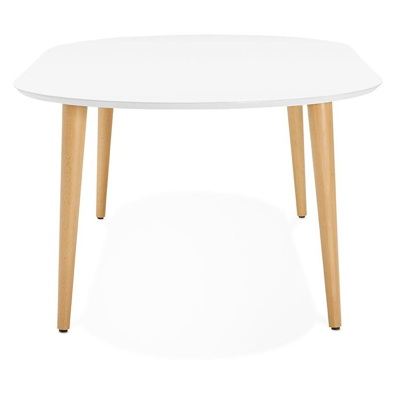 Round dining table Scandinavian to extensions (Ø 120 cm) OLIVIA (120-220 x 120 x 75 cm) wooden (matte white) - image 39601