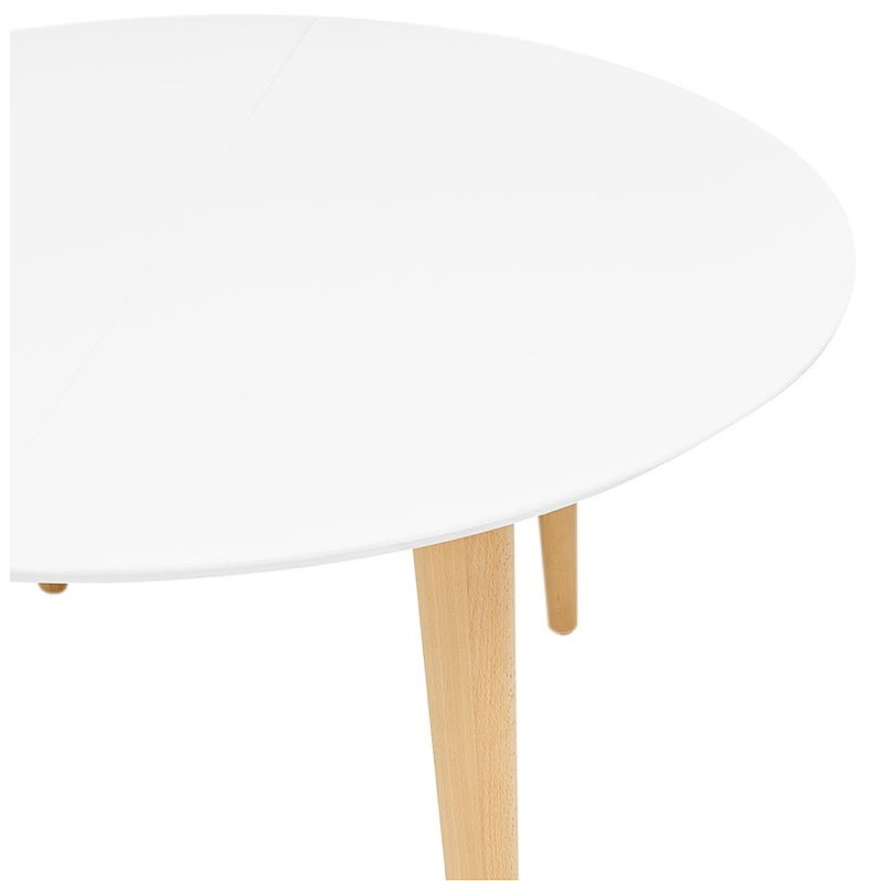 Round dining table Scandinavian to extensions (Ø 120 cm) OLIVIA (120-220 x 120 x 75 cm) wooden (matte white) - image 39612