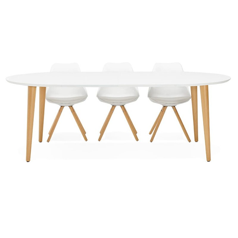 Round dining table Scandinavian to extensions (Ø 120 cm) OLIVIA (120-220 x 120 x 75 cm) wooden (matte white) - image 39620