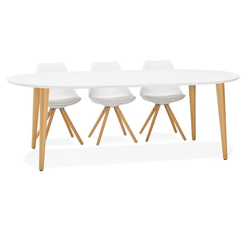Round dining table Scandinavian to extensions (Ø 120 cm) OLIVIA (120-220 x 120 x 75 cm) wooden (matte white) - image 39622