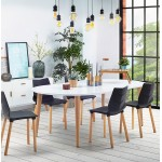 Round dining table Scandinavian to extensions (Ø 120 cm) OLIVIA (120-220 x 120 x 75 cm) wooden (matte white)